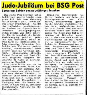 20 Jahre - Post Schwerin Sektion Judo